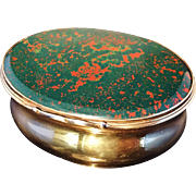 SALE German mid 18th C Gilded Solid Silver and Bloodstone Snuff Box. Excellent.