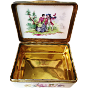 SALE 18th C SILVER GILT MOUNTED GERMAN PORCELAIN SNUFF BOX. STUNNING!