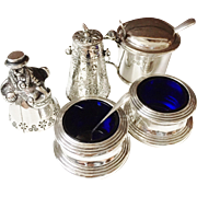 SALE Lot Dinner Table items. Solid Silver. Dinner Bell, Salts, Mustard Pot, Shaker, Spoons. ..