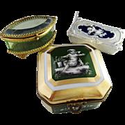 SALE 3 c 1890-1910 Trinket Boxes. Mansard Paris Sevres