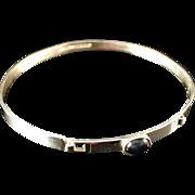 SALE Vintage 1964 Finnish Modernist Turun Hopea Solid Silver Bracelet. Onyx