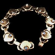 SALE 1966 Vintage Swedish Designer Modernist Bracelet Solid Silver Blue Stones.