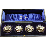 SALE Levi & Salaman Antique 1907 Menu Holders Sterling Silver. Superb. Original Case.