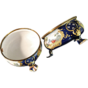 SALE Pair of 18th c Battersea Bilston Enamel Salts. Beautiful.