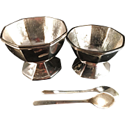 SALE PROVENIENS. Antique Solid silver Chinese Export Salt and Pepper trays. K.O. Silversmith's