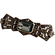 SALE Art Deco Solid Silver Aquamarin Brooch 1920s.