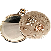 SALE French Art Nouveau Solid Silver Mirror Pendant. Excellent. Gilded or Gold.