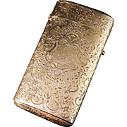 SALE Large Antique French Solid Gilt Silver Etui Case c 1870s. Stunning decoration. Hallmarked
