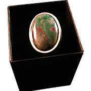 SALE Helge Narsakka, Finland, 1963. Massive Solid Silver Ring with Multi Colored Stone. Size 8