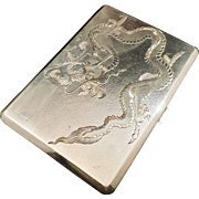 SALE Very large Japanese Sterling Silver Dragon Cigarette Case. Early 1900s