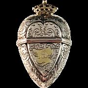"""SALE Stunning Oversized Solid Silver Vinaigrette """"Hovedvandsaeg"""". Denmark mid 1700s."""