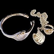 SALE Vintage Sterling Silver White Enamel Set. Ring Necklace Bracelet. Maker Ceson Sweden 1984