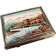 SALE Persian Solid Silver Enamel Cigarette Case. Early 1900s. Stunning Enamel!
