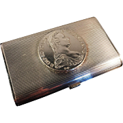 SALE Excellent Solid Silver Card / Cigarette Case. Handmade in Norway early 1900, antique coin