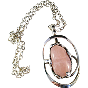 SALE Huge 5oz Vintage Danish Sterling Silver and Pink Stone Necklace Pendant. 1960s.
