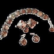SALE Set Sterling Silver and Porphyry Bracelet and Earrings maker Stenlya Sweden 1957.
