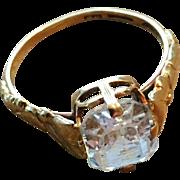 SALE 18K Gold Ring with Rock Crystal. G. Dahlgren, Sweden 1953.
