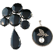 SALE Antique Sterling Silver and Onyx Mourning Brooch, by Samuel Pettersson, Linköping, Swede