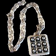 SALE Vintage 1970 Solid Silver Pendant Necklace. Modernist Gustav Dahlgren, Sweden.