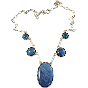 SALE Stunning Vintage 1969 Sterling Silver w Blue Stones Collier Necklace. Sweden by Gunnar As