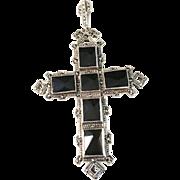 SALE Norwegian 1950s Albert Scharning Solid Silver w Black Stones Large Pendant.