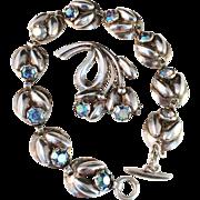 SALE 1950s Vintage Sterling Silver Bracelet and Brooch by famous Danish maker Herman Siersbøl