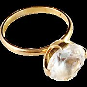 SALE Vintage 1971 18K Gold and Rock Crystal Ring. Famous Modernist Maker Alton, Sweden.