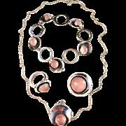 SALE Stunning Niels Erik From, Denmark Vintage 1950s Sterling Silver Set. Ring, Brooch, Pendan