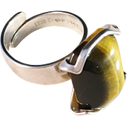 SALE Vintage 1976 Bold Sterling Silver and large Tiger Eye Ring, by ALTON, Sweden.