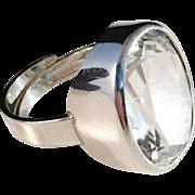 SALE Bold Vintage 1974 Sterling Silver Ring with Huge Rock Crystal. Bengt Hallberg, Sweden.