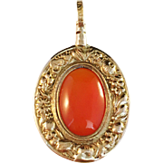 SALE Antique year 1795 18K Gold Carnelian Pendant. Augustin Bourdillon (1761-1799), Stockholm
