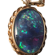 SALE Vintage 9k Gold and beautiful black Opal (poss. doublet or triplet) Pendant Necklace.