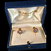 SALE Vintage 1953 14k Gold and light blue stones earrings. Maker Auran Kultaseppä, Finland. I