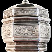 SALE Antique 1853 Dutch Solid Silver Pill Lodderein Vinaigrette Box.