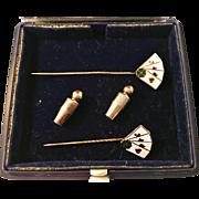 SALE Vintage 1962 18K Gold and Enamel Stick Pins. Playing Cards Poker. Lagerström, Stockholm,