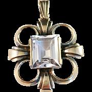 SALE Vintage 1951 Waldemar Jonsson, Sweden Gilt Sterling Silver and Large Rock Crystal Pendant