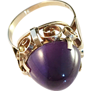 SALE Hermann Siersbøl 1950s 14K Gold Cocktail Ring with Large Amethyst. Excellent.