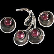 SALE Early Hermann Siersbøl 1950s Sterling Silver Brooch / Pendant and pair of Clip Earrings
