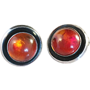 SALE Niels Erik From. Amber and Sterling Silver Clip Earrings. Vintage 1950s. Excellent.