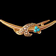 SALE Antique 15k Gold and Turquoise Brooch. Russia Provincial.  Art Nouveau