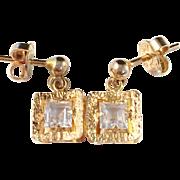 SALE 18k Gold Vintage 1963-68 Earrings. Modernist Oscar Pärno, Stockholm Sweden. Rock Crystal