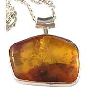 SALE Erik Styrbech, Denmark 1960s Sterling Silver and Large Amber Pendant with Sterling Chain.