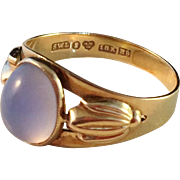 SALE 18k Gold and Chalcedony Ring. Sigvard Ljungström, Stockholm 1958. Excellent
