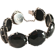SALE Antique 1884, Silver and Jet Mourning Bracelet. Wilhelm Samuel Jacobsson, Stockholm, ...