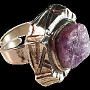 SALE Pentti Sarpaneva, Finland 1974. Bold Large Modernist Ring with Raw Amethyst. Adjustable .