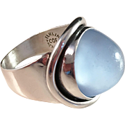 SALE Carl Olof Frydensberg, Denmark 1950s Large Chalcedony and Sterling Silver Ring. Excellent