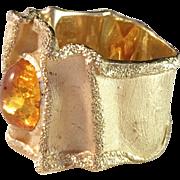 SALE Massive Vintage 14k Gold w Amber Ring. Italy 1970s. Brutalist. 12gram!
