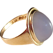 SALE Large 18k Gold and Moon Stone Ring. Johan Pettersson, Stockholm, Sweden 1952. Excellent