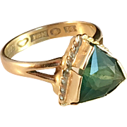SALE Art Deco 1935, 18k Gold Ring with Dark Forest Green Tourmaline, Johan Pettersson, ...