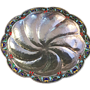 SALE Antique Pure 1000 Silver Enamel Bowl. Japan 1910s. Hand hammered.